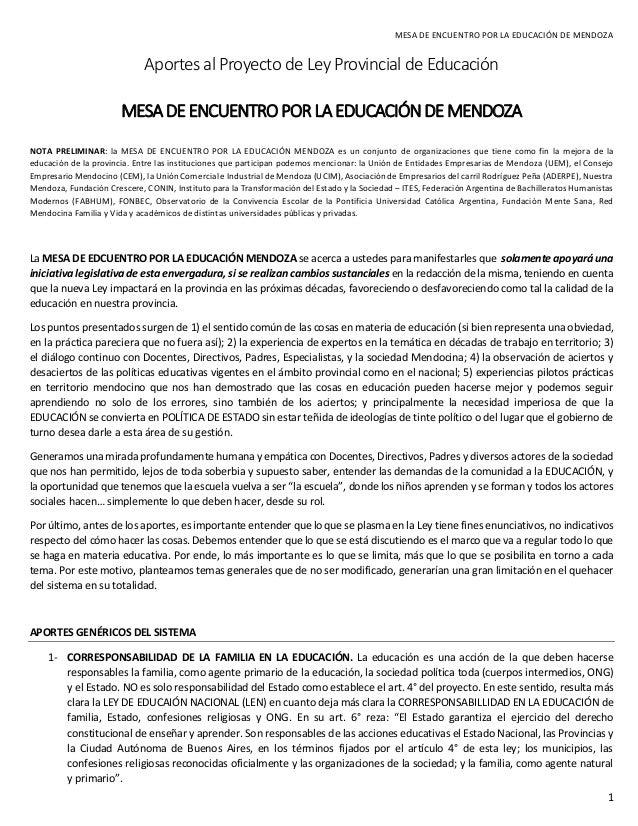 MESA DE ENCUENTRO POR LA EDUCACIÓN DE MENDOZA  1  Aportes al Proyecto de Ley Provincial de Educación  MESA DE ENCUENTRO PO...