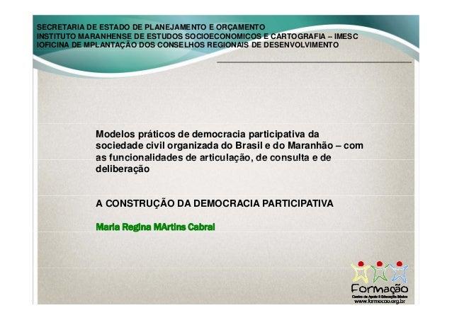 SECRETARIA DE ESTADO DE PLANEJAMENTO E ORÇAMENTO INSTITUTO MARANHENSE DE ESTUDOS SOCIOECONOMICOS E CARTOGRAFIA – IMESC IOF...