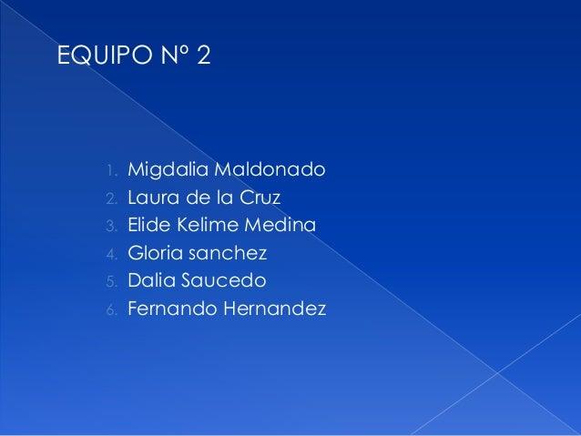 EQUIPO Nº 2 1. Migdalia Maldonado 2. Laura de la Cruz 3. Elide Kelime Medina 4. Gloria sanchez 5. Dalia Saucedo 6. Fernand...