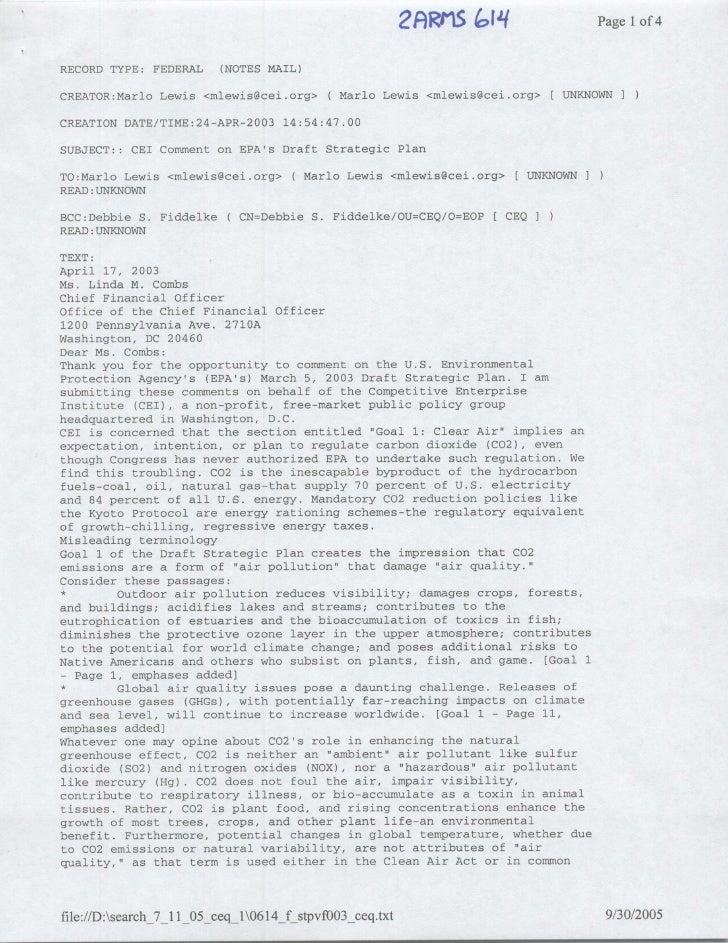 PagelIof 4  RECORD TYPE: FEDERAL     (NOTES MAIL)  CREATOR:Marlo Lewis <mlewis~cei.org> (Mario         Lewis <mlewis~cei.o...