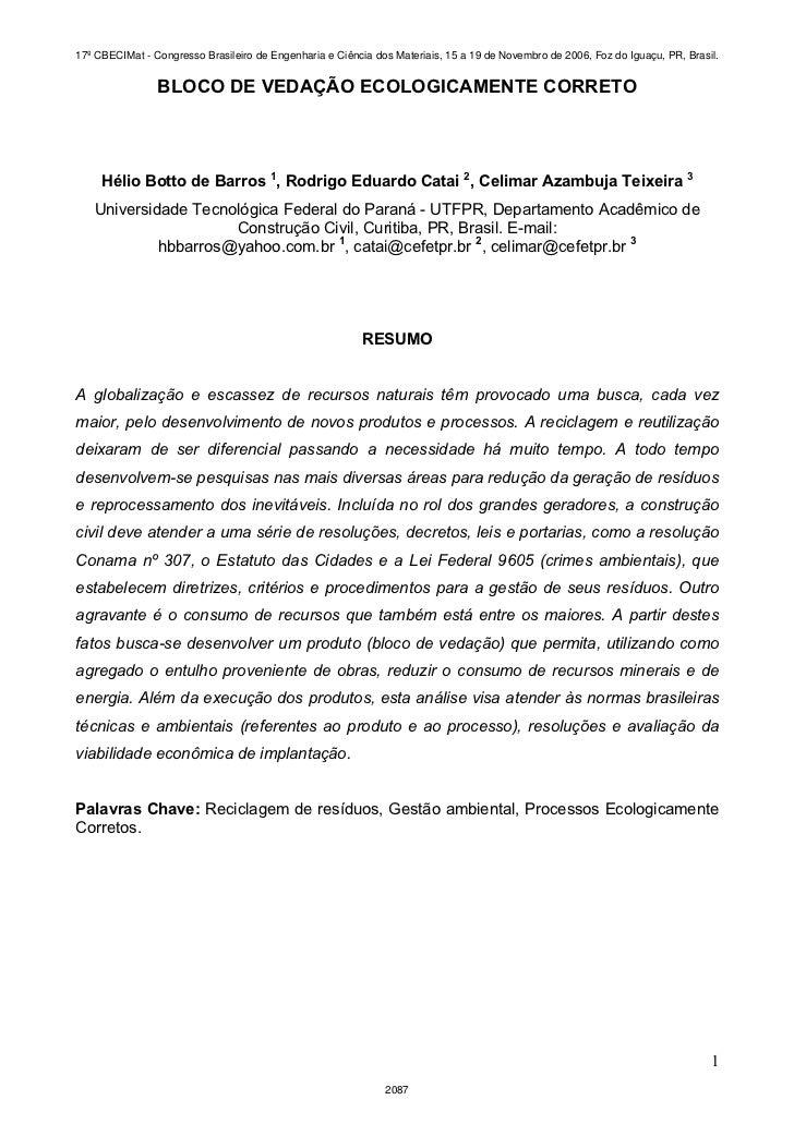 17º CBECIMat - Congresso Brasileiro de Engenharia e Ciência dos Materiais, 15 a 19 de Novembro de 2006, Foz do Iguaçu, PR,...
