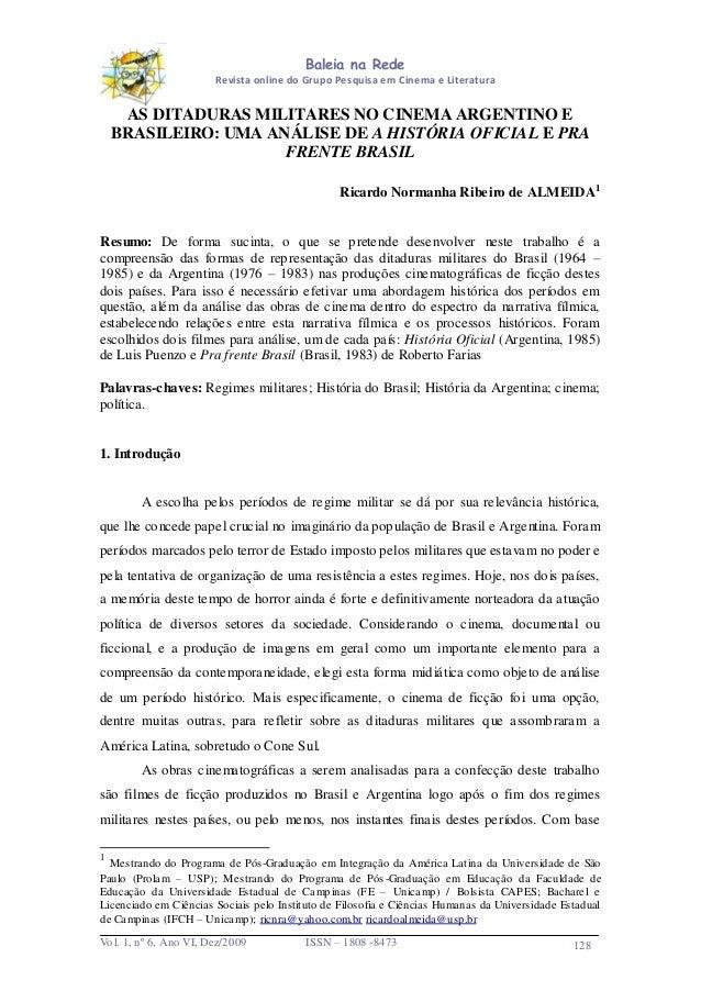 Baleia na Rede Revista online do Grupo Pesquisa em Cinema e Literatura  AS DITADURAS MILITARES NO CINEMA ARGENTINO E BRASI...