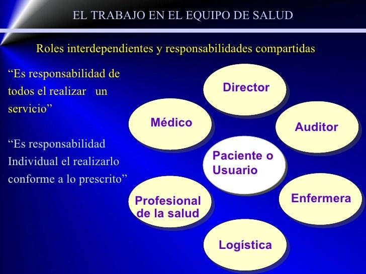 """EL TRABAJO EN EL EQUIPO DE SALUD """" Es responsabilidad de todos el realizar  un servicio"""" """" Es responsabilidad Individual e..."""