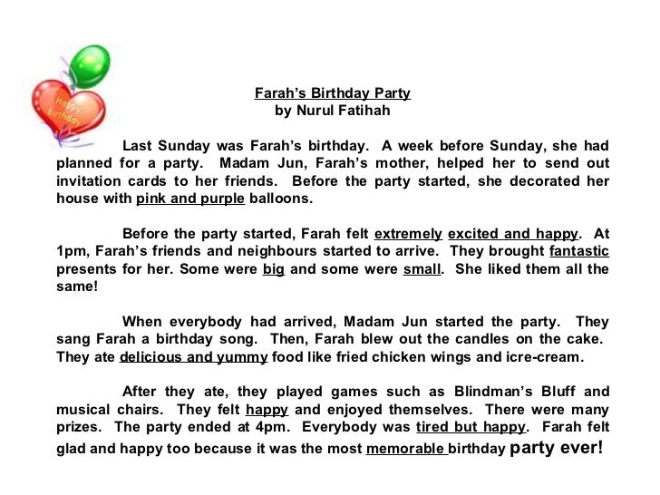 essay on birthday party in 100 words