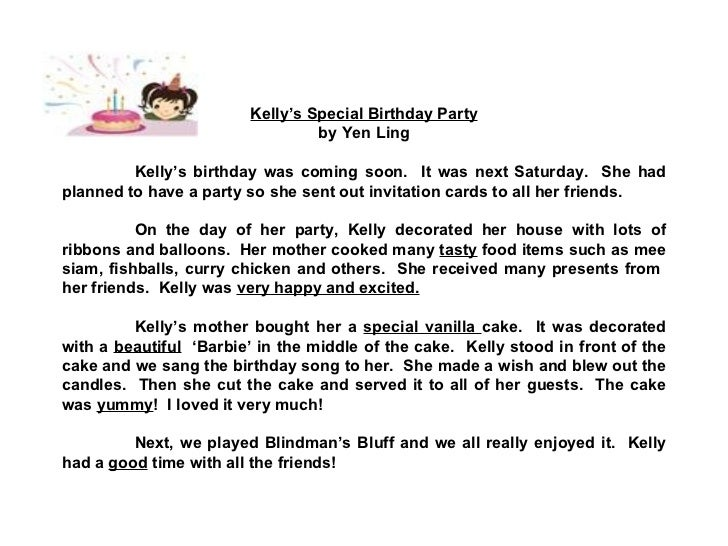 star compositions a birthday party check out the adjectives  3 kelly s special birthday party