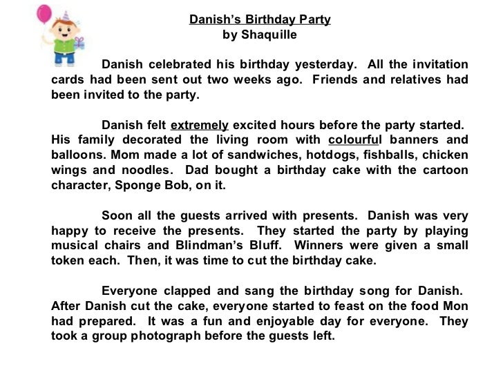 Write an essay on a birthday party i attended Describe a birthday