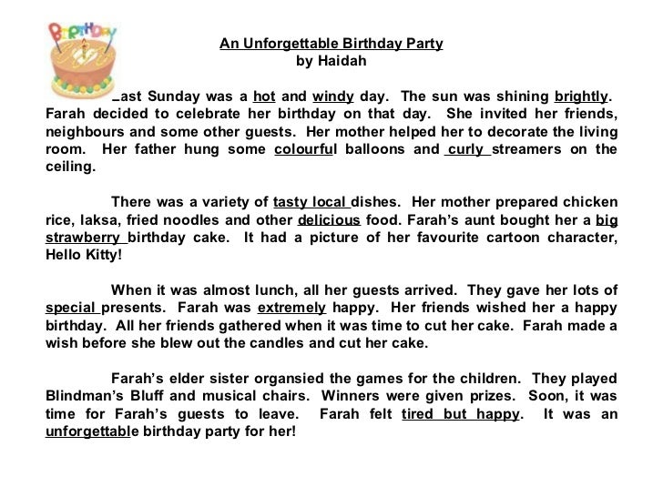Invitation For Birthday Essay. 5  An Unforgettable Birthday STAR COMPOSITIONS A Party Check out the adjectives
