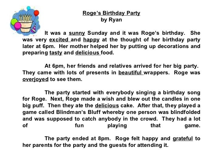 descriptive paragraph on my party I have an assignment to write a descriptive paragraph about my room , i wrote one but i am not sure if this paragraph covers all ( topic sentence, controlling idea, coherence , concluding sentence) and maybe there are several grammatical mistake.