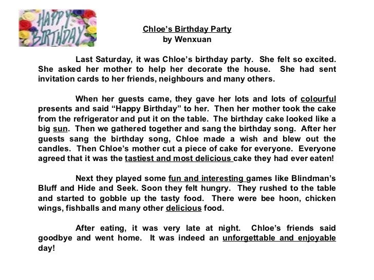Invitation For Birthday Essay. 7  Chloe s Birthday STAR COMPOSITIONS A Party Check out the adjectives