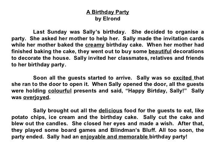 short essay on my birthday party I will be 11 years old tomorrow, and i think this year is the last year that i will have my birthday party here in thailand click here to read her essay.