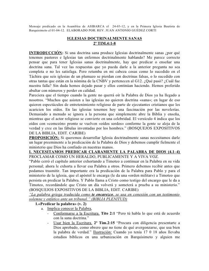 Mensaje predicado en la Asamblea de ASIBARCA el 24-03-12, y en la Primera Iglesia Bautista deBarquisimeto el 01-04-12. ELA...