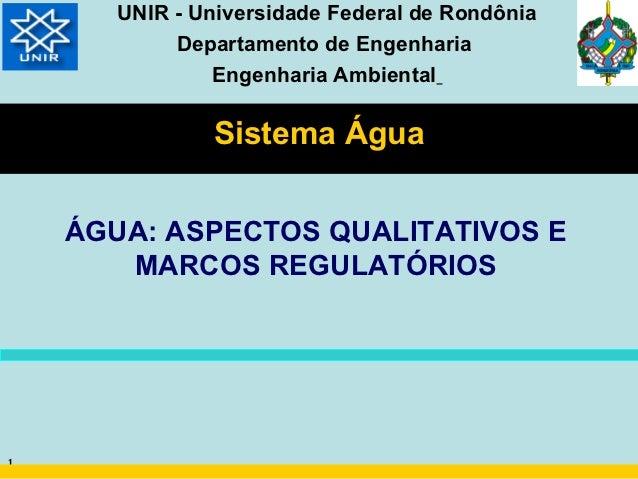 UNIR - Universidade Federal de Rondônia            Departamento de Engenharia                Engenharia Ambiental         ...