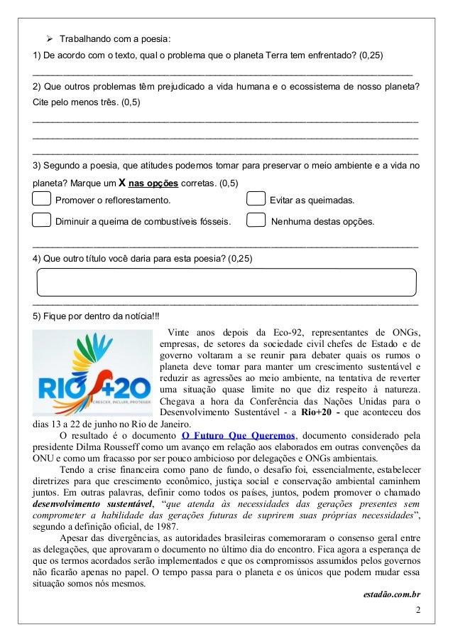 Avaliação de Português 5º Ano 2º bimestre Slide 2