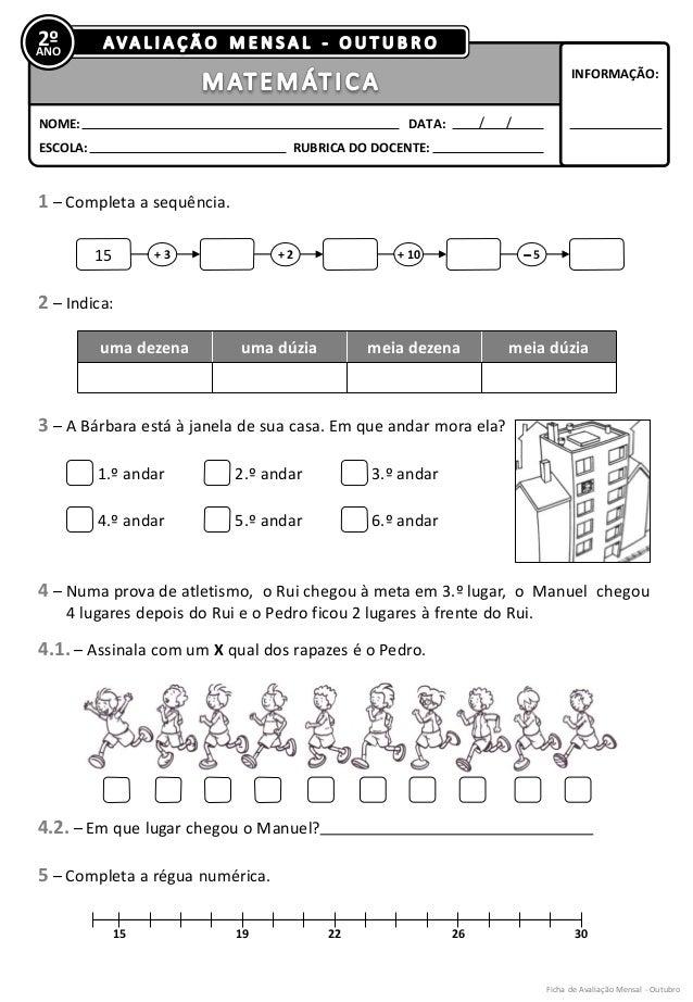 2º  ANO  NOME:  DATA:  INFORMAÇÃO:  RUBRICA DO DOCENTE:  ESCOLA:  1 – Completa a sequência.  2 – Indica:  3 – A Bárbara es...
