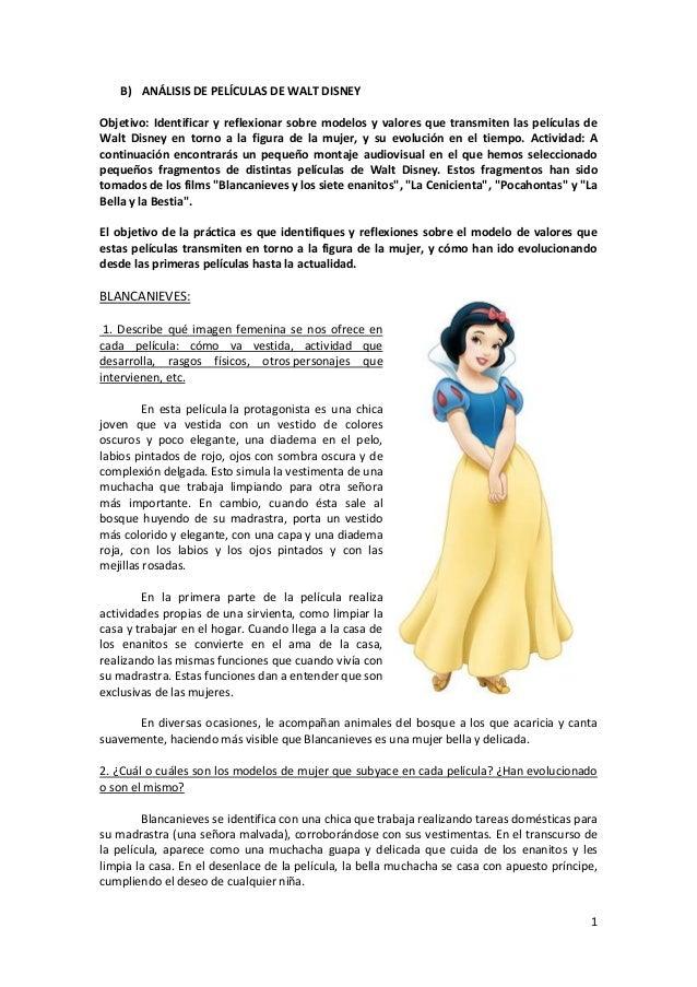 1B) ANÁLISIS DE PELÍCULAS DE WALT DISNEYObjetivo: Identificar y reflexionar sobre modelos y valores que transmiten las pel...