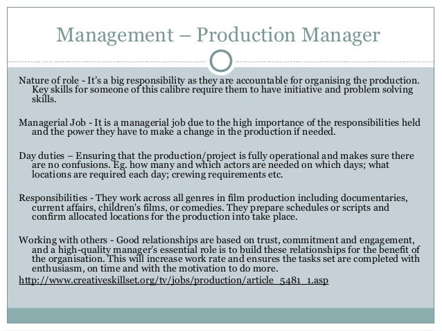 Assignment 2B – Production Director Job Description