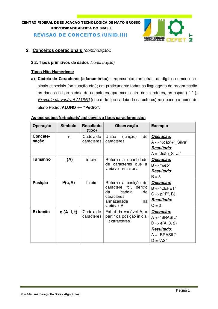CENTRO FEDERAL DE EDUCAÇÃO TECNOLÓGICA DE MATO GROSSO                     UNIVERSIDADE ABERTA DO BRASIL         R E V I SÃ...