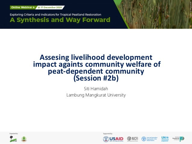 Assesing livelihood development impact againts community welfare of peat-dependent community (Session #2b) Siti Hamidah La...