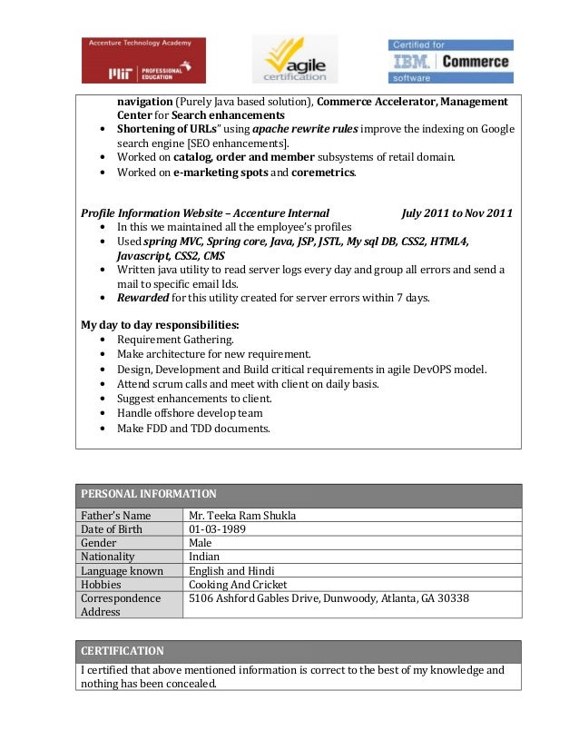 accenture home page personal resume