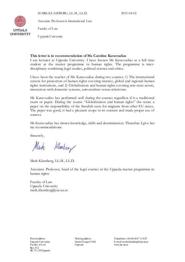 caroline karavoulias recommendation letter