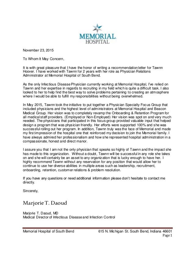 Marjorie Daoud, Md Professional Reference Letter