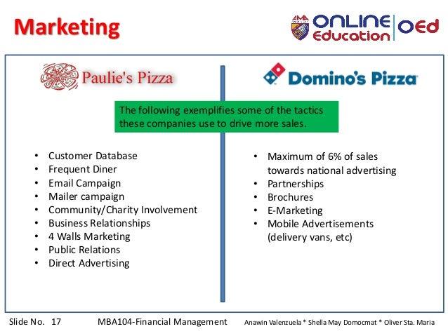 Slide No. 17 MBA104-Financial Management Anawin Valenzuela * Shella May Domocmat * Oliver Sta. Maria Marketing • Customer ...