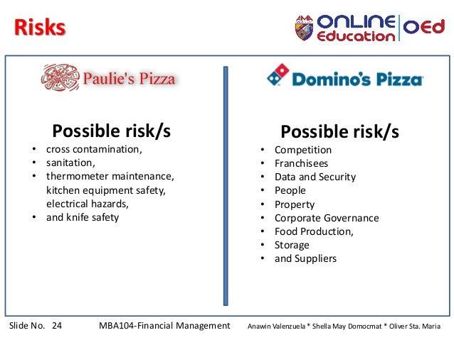 Slide No. 24 MBA104-Financial Management Anawin Valenzuela * Shella May Domocmat * Oliver Sta. Maria Risks Possible risk/s...