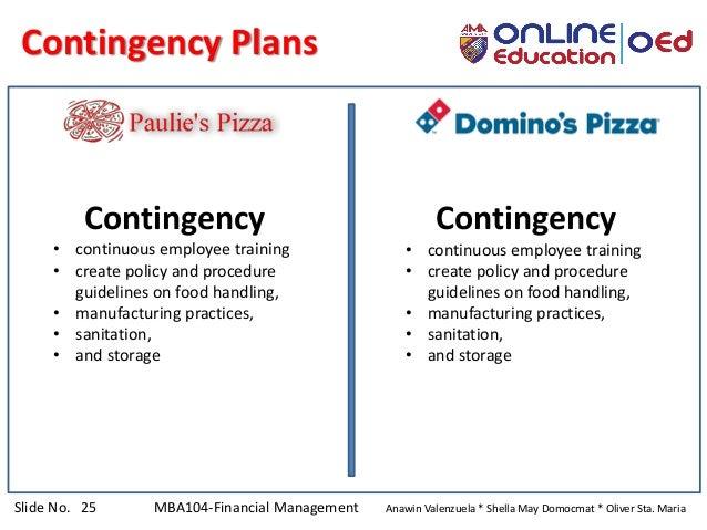 Slide No. 25 MBA104-Financial Management Anawin Valenzuela * Shella May Domocmat * Oliver Sta. Maria Contingency Plans Con...