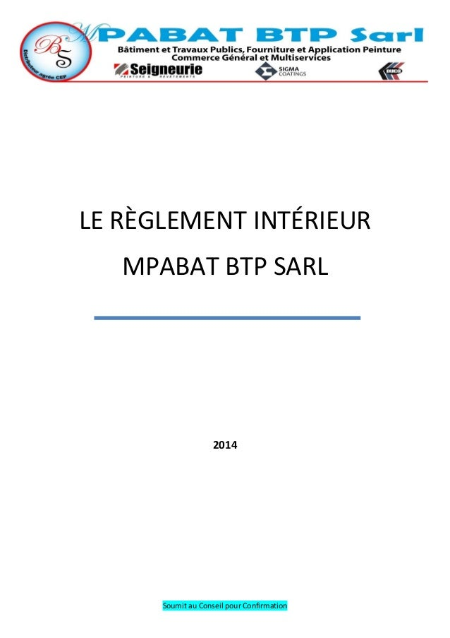 Le r glement int rieur for Le reglement interieur