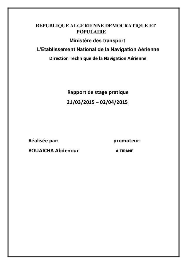 REPUBLIQUE ALGERIENNE DEMOCRATIQUE ET POPULAIRE Ministère des transport L'Etablissement National de la Navigation Aérienne...