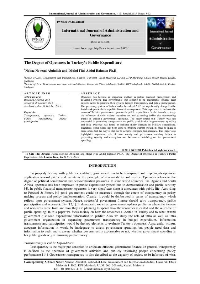 International Journal of Administration and Governance, 1(12) Special 2015, Pages: 8-12 IWNEST PUBLISHER International Jou...