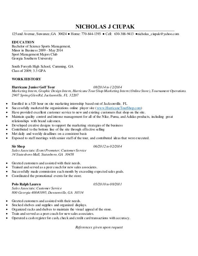 resume without cover letter nicholas j ciupak 125 and avenue suwanee ga 30024 home 770. Resume Example. Resume CV Cover Letter