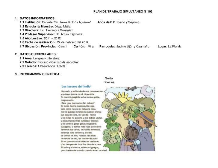 """PLAN DE TRABAJO SIMULTÁNEO N°1051. DATOS INFORMATIVOS:   1.1 Institución: Escuela """"Dr. Jaime Roldós Aguilera""""   Años de E:..."""