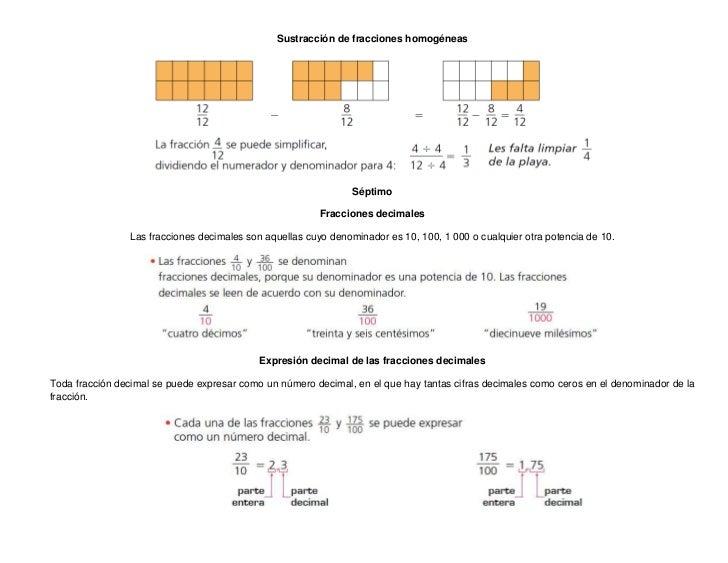 Sustracción de fracciones homogéneas                                                                Séptimo               ...