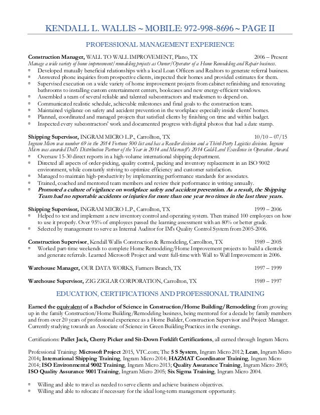 wallis kendall construction supervisor resume 2015