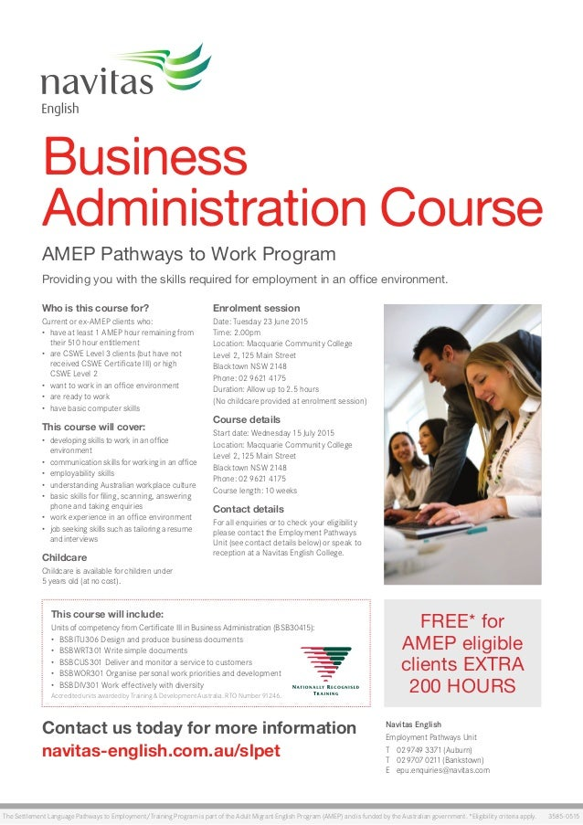 Amep slpet business administration blacktown flyer - Office administration course ...