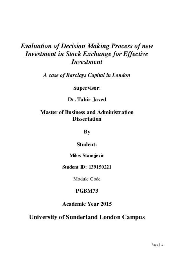 Phd thesis decision making
