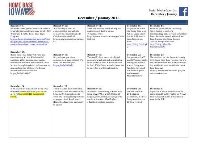 Social Media CalendarDecember / JanuaryDecember / January 2015December ...