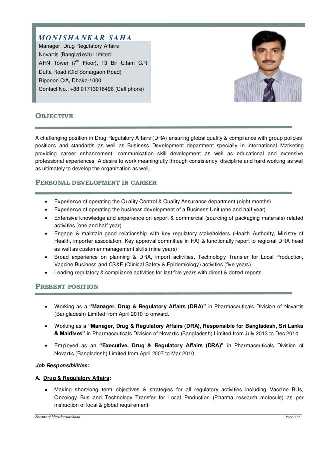Biodata for dra bd for Pharmaceutical regulatory affairs resume sample