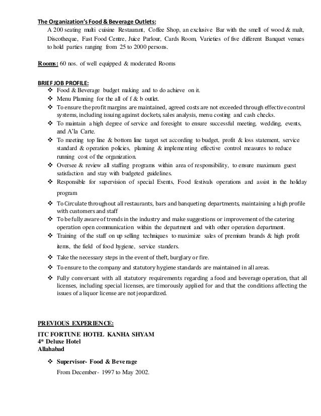 food and beverage manager resume sle 28 images food