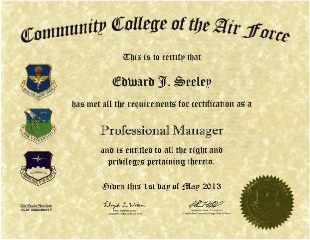 4. Seeley, Edward J. Professional Manager Certification