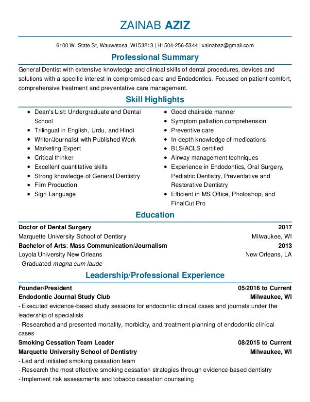 2017 Milwaukee, WI 2013 New Orleans, LA 05/2016 To Current Milwaukee, ...  Dental School Resume