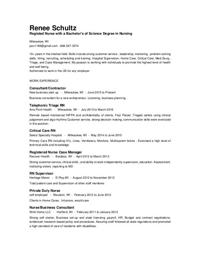 Private Nurse Resume nursing resume example Renee Schultz Registed Nurse With A Bachelors Of Science Degree In Nursing Milwaukee