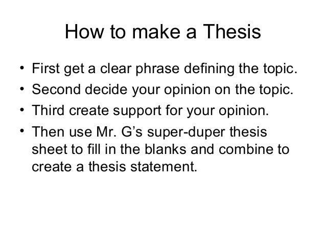 writing a clear thesis statement Hint: a great many clear and engaging thesis statements contain words like because, since, so, although, unless, and however 4 a strong thesis statement is specific.
