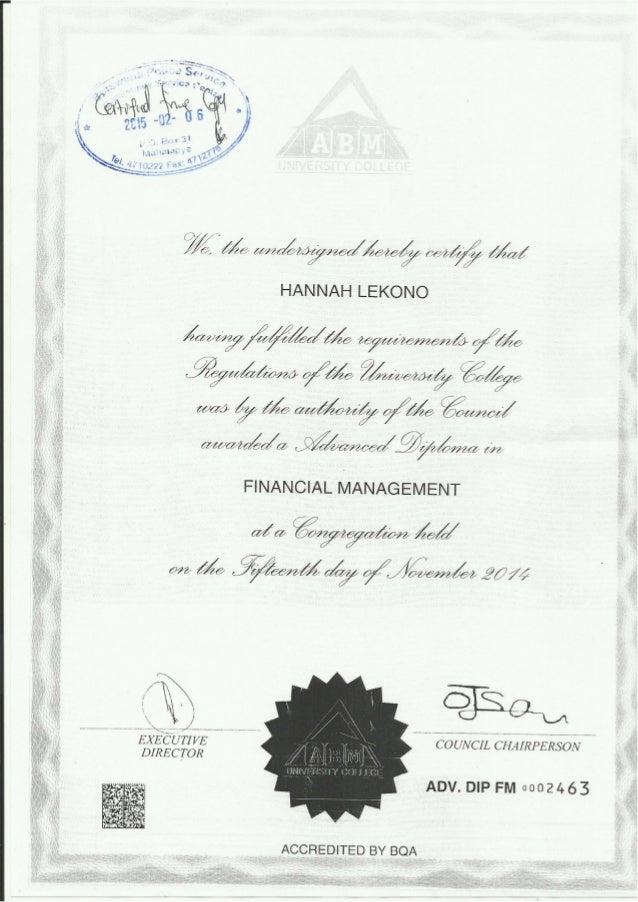 advanced diploma in financial managment