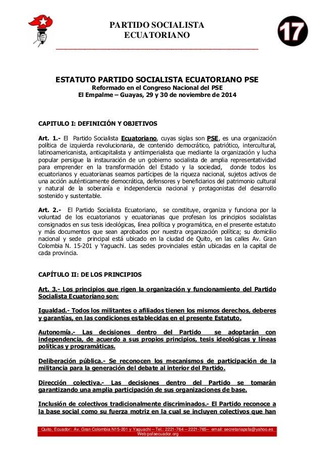PARTIDO SOCIALISTA ECUATORIANO __________________________________________ Quito, Ecuador: Av. Gran Colombia N15-201 y Yagu...