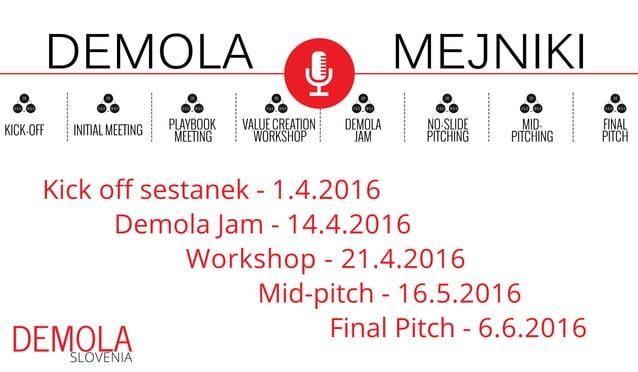 Kick off sestanek - 1.4.2016 Demola Jam - 14.4.2016 Workshop - 21.4.2016 Mid-pitch - 16.5.2016 Final Pitch - 6.6.2016 MEJN...