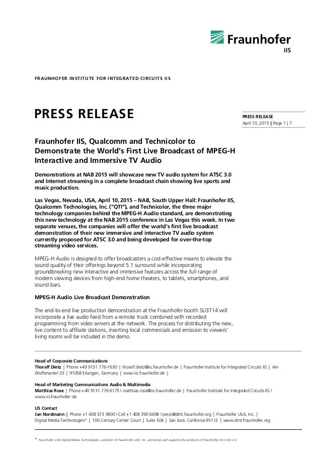PRESS RELEASE April 10, 2015 || Page 1 | 7 FRAUNHOFER INSTITUTE FOR INTEGRATED CIRCUITS IIS Head of Corporate Communicatio...