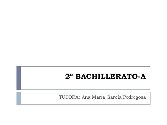 2º BACHILLERATO-A TUTORA: Ana María García Pedregosa