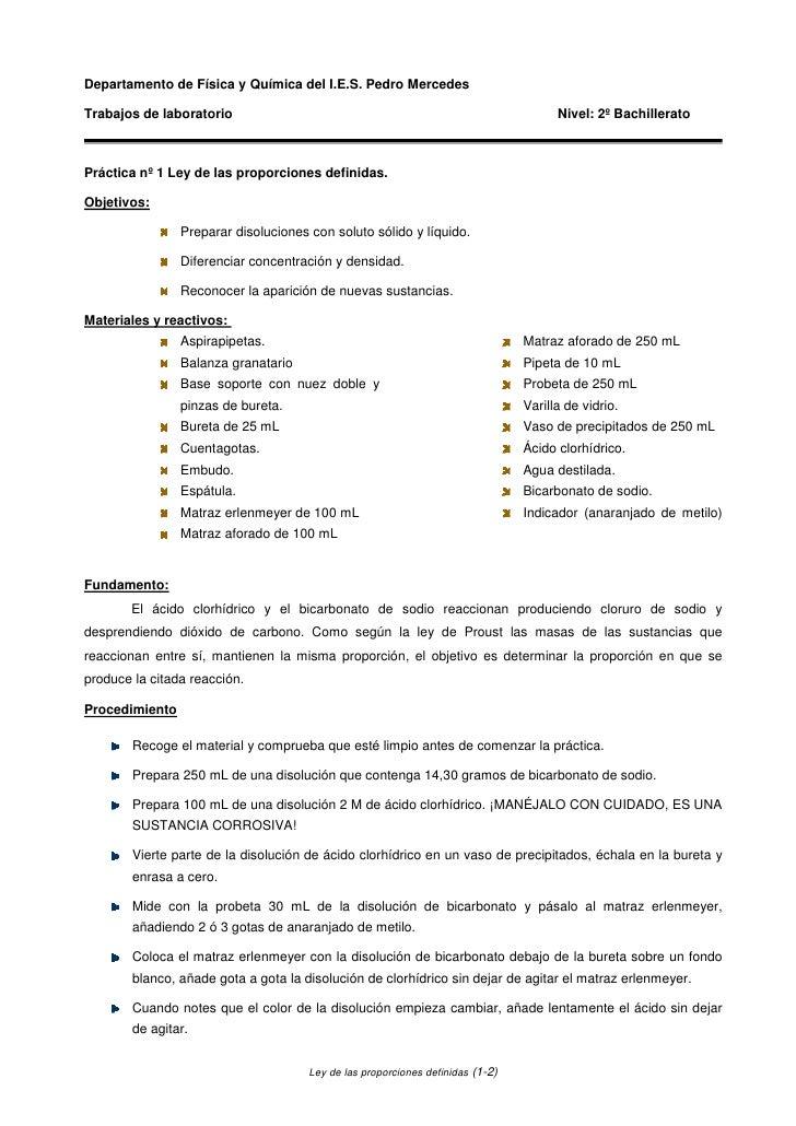 Departamento de Física y Química del I.E.S. Pedro Mercedes  Trabajos de laboratorio                                       ...